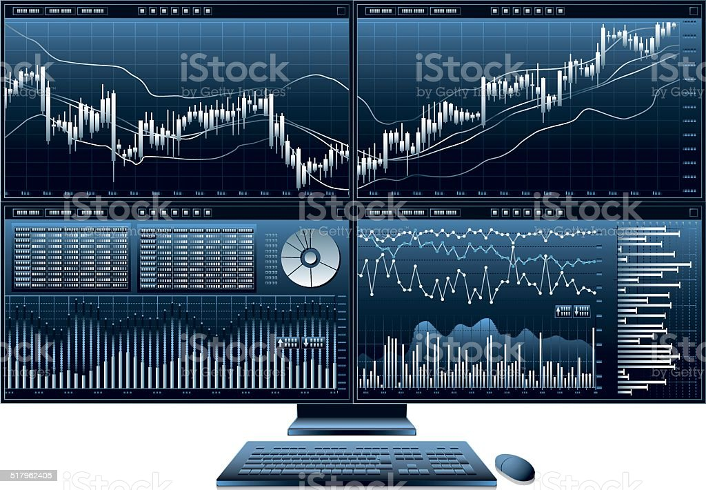 computer monitor graph vector art illustration