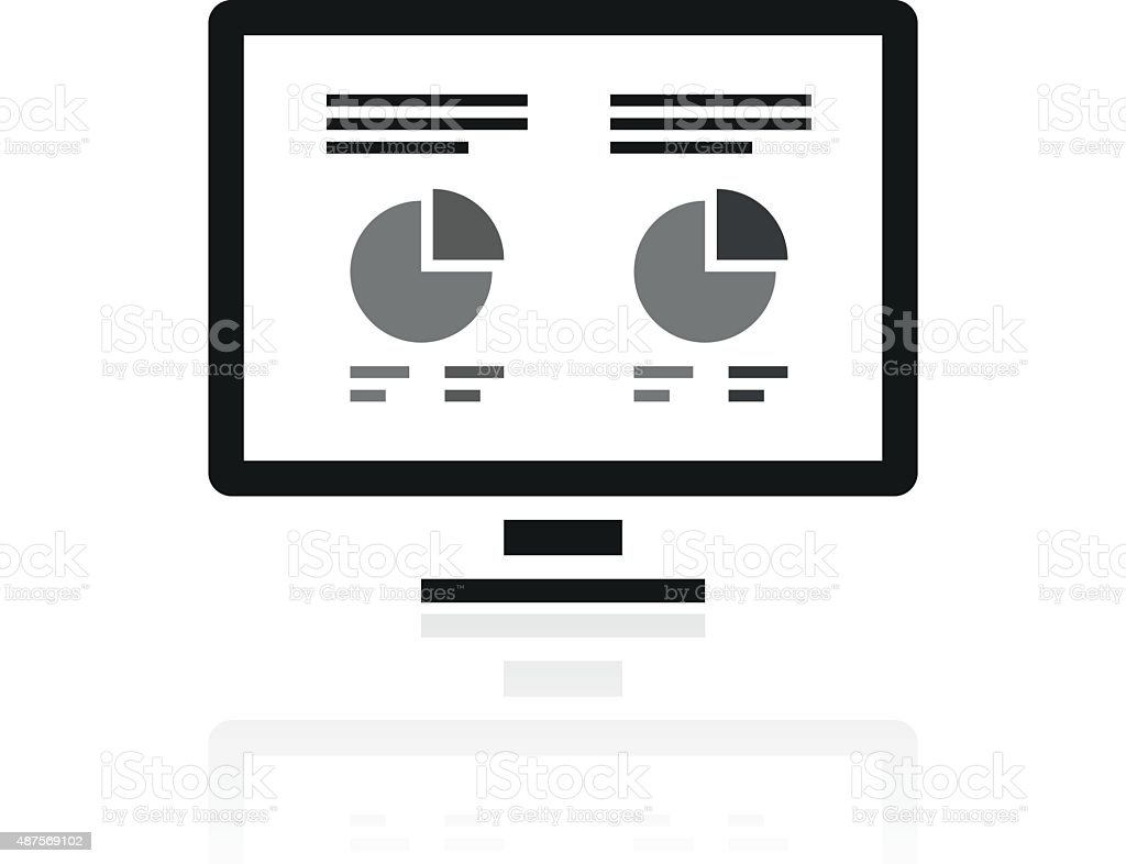 Computer Monitor icon on a white background. vector art illustration
