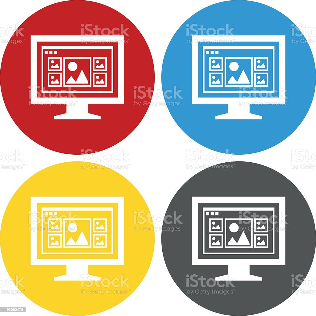 Computer Monitor icon on circle buttons. - CircleSeries royalty-free computer monitor icon on circle buttons circleseries stock vector art & more images of 2015