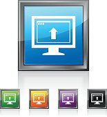 Illustration includes a white, Computer Monitor icon on blue, green, orange, purple, and black square shape, color buttons on a white background.