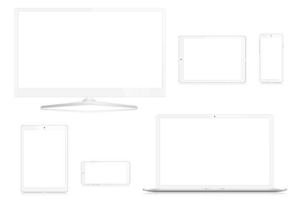 Computer Monitor, Laptop, Smart Phone and Digital Tablet vector art illustration