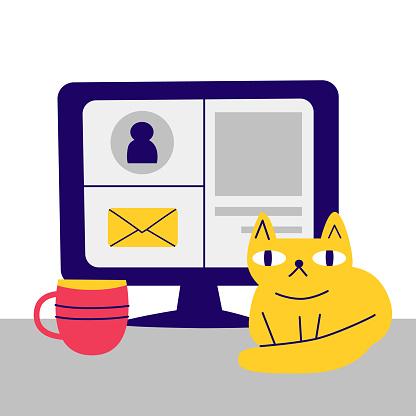 Computer monitor, laptop with email account on screen, funny cat on the desk. User workspace, email, social network. Concept of internet, online technology, web. Vector stock eps illustration isolated