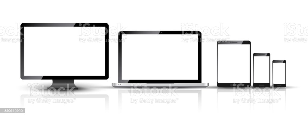 Computer monitor, smartphone, laptop and tablet pc design. Mobile phone smart digital device set vector art illustration