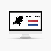 Computer monitor with a flag and map country Netherland.