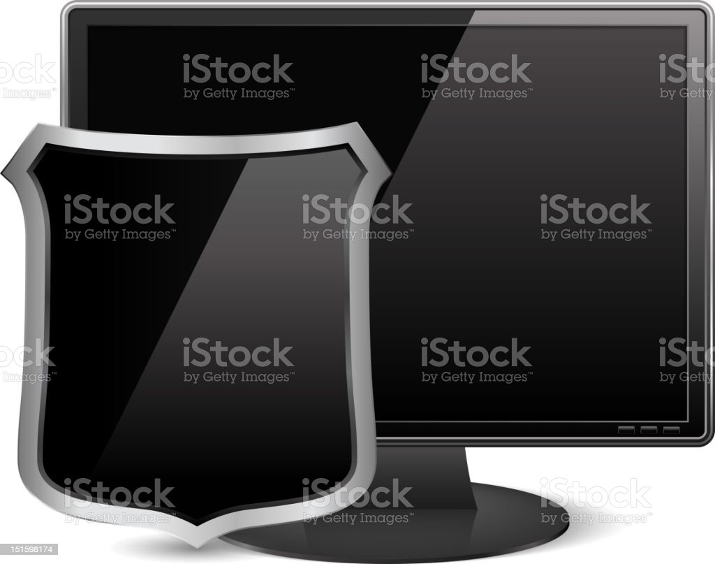 Computer Monitor with Black Shield royalty-free computer monitor with black shield stock vector art & more images of antivirus software