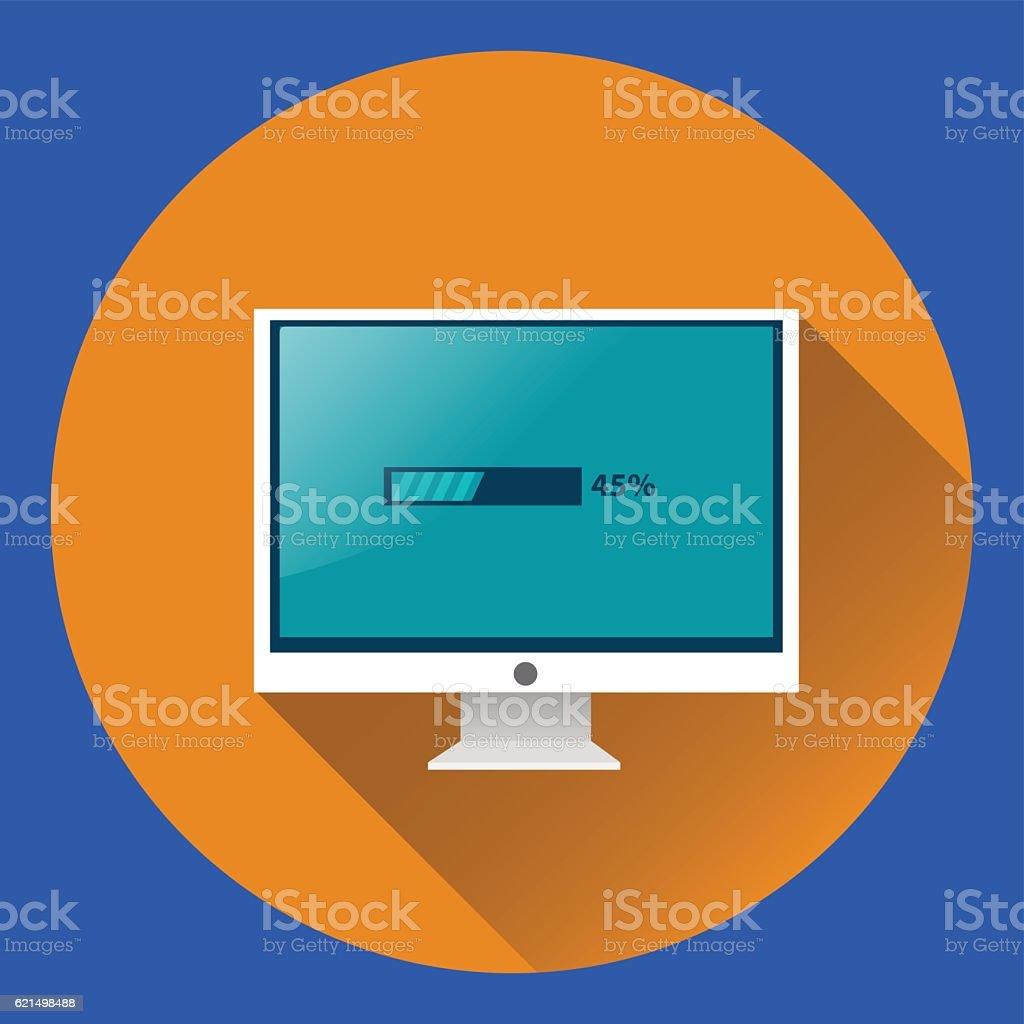 Computer Monitor with loading process flat icon. PC desktop display. computer monitor with loading process flat icon pc desktop display – cliparts vectoriels et plus d'images de activité libre de droits