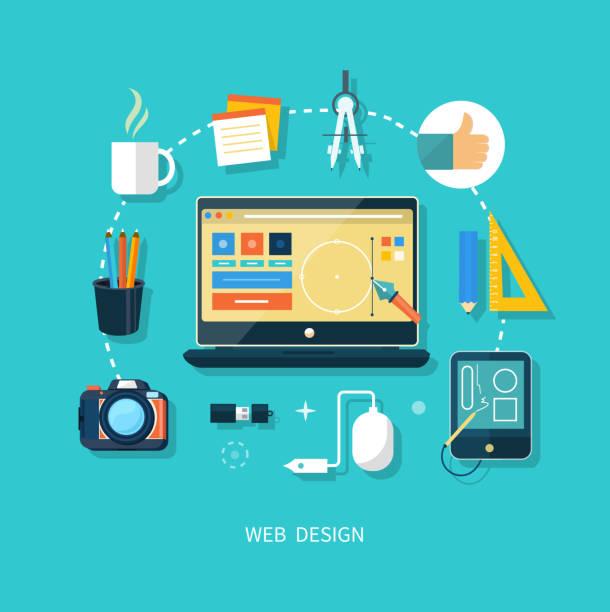 computer-monitor mit programm für design - tablet mit displayinhalt stock-grafiken, -clipart, -cartoons und -symbole