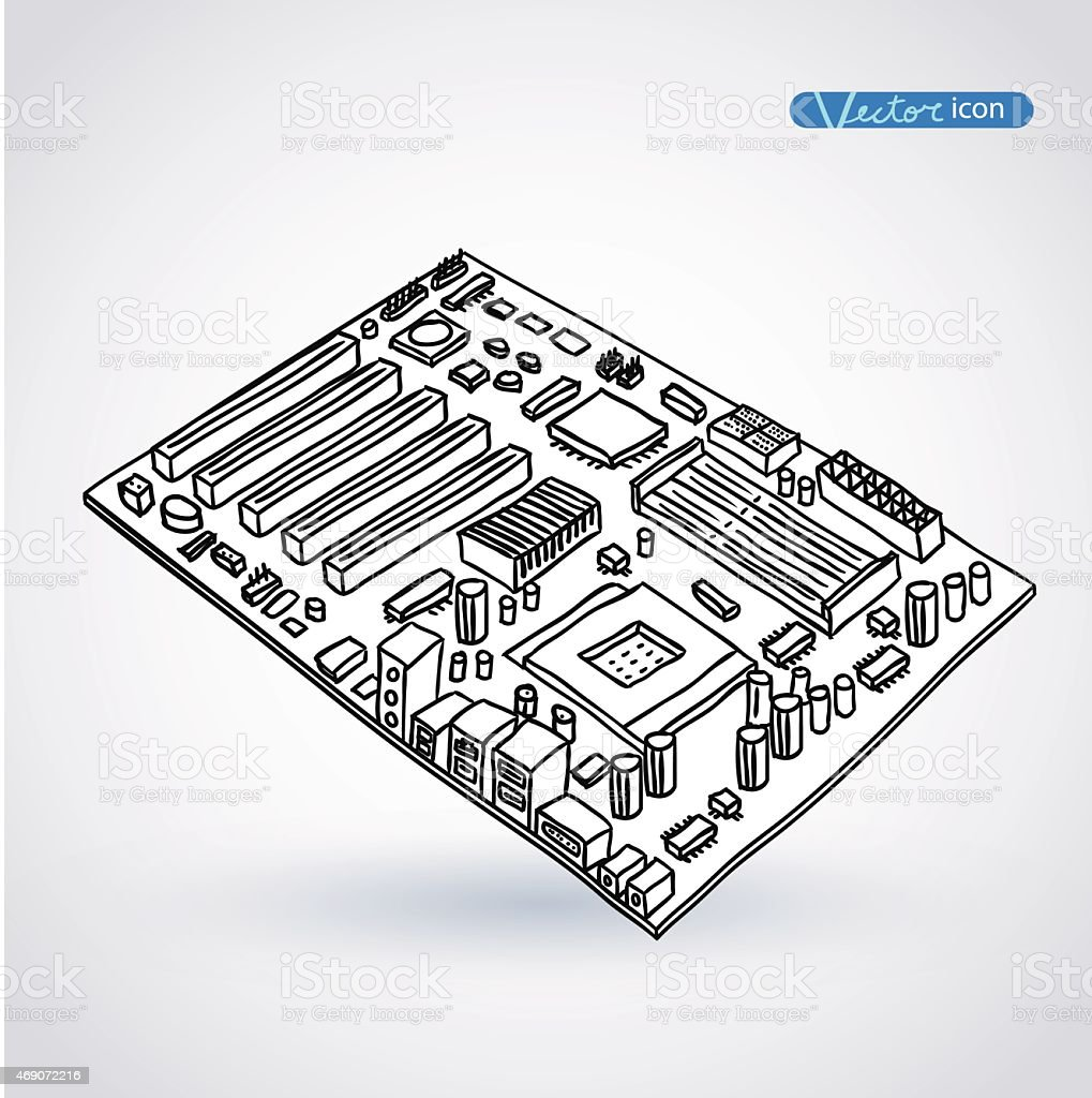 computer motherboard, isolated vector art illustration
