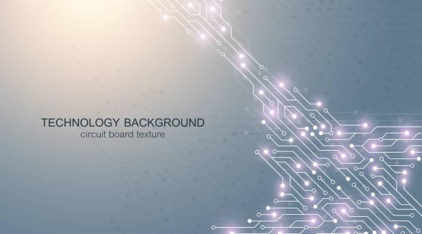 Computer-Motherboard-Vektor-Hintergrund mit Leiterplatten-Elektronik-Elementen. Elektronische Textur für Computertechnik, Engineering-Konzept. Motherboard-Computer generiert abstrakte Illustration – Vektorgrafik