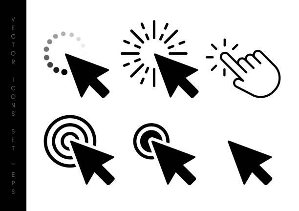 stockillustraties, clipart, cartoons en iconen met computer muisklik cursor zwarte pijlpictogrammen instellen. vector illustratie - computermuis
