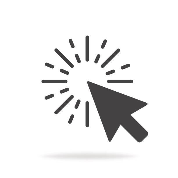 컴퓨터 마우스 커서 회색 화살표 아이콘을 클릭 합니다. 벡터 일러스트 레이 션 - 커서 stock illustrations
