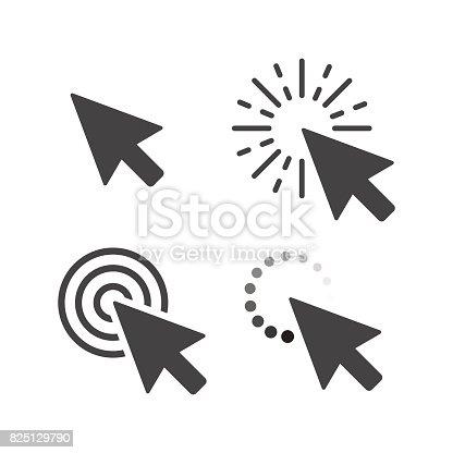 Computer mouse click cursor gray arrow icons set. Vector illustration.