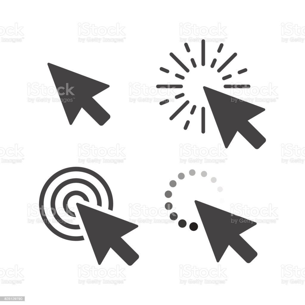 Ratón de la computadora, haga clic en conjunto de los iconos de flecha de cursor gris. Ilustración de vector - ilustración de arte vectorial