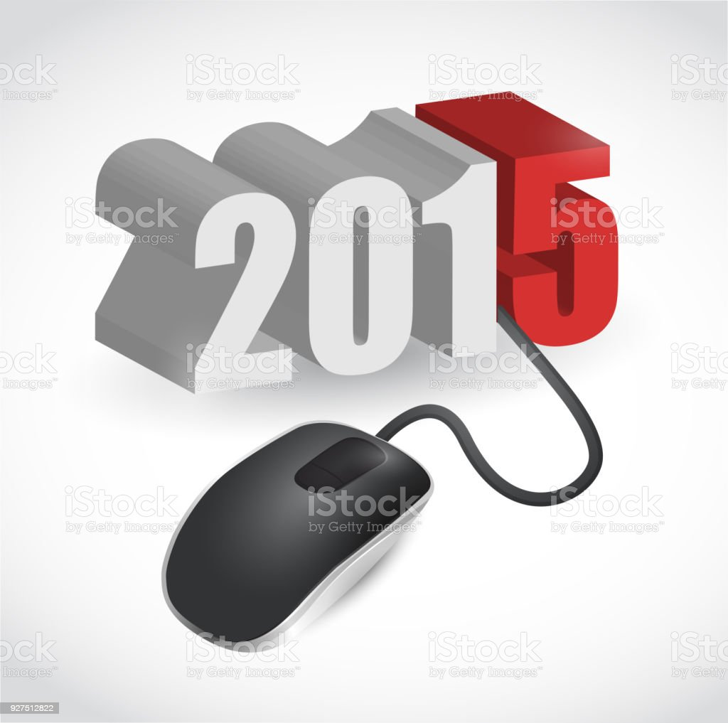 computer mouse connected to 2015 illustration design over white vector art illustration