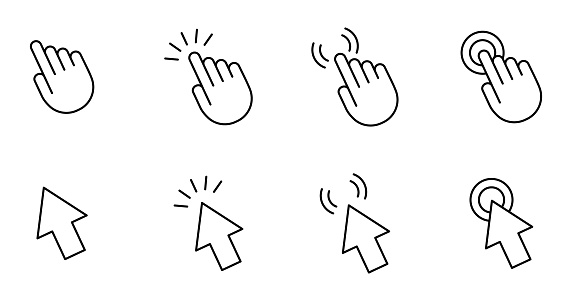 Computer mouse cursor pointer hand and arrow. Set of 8 vector images with editable stroke