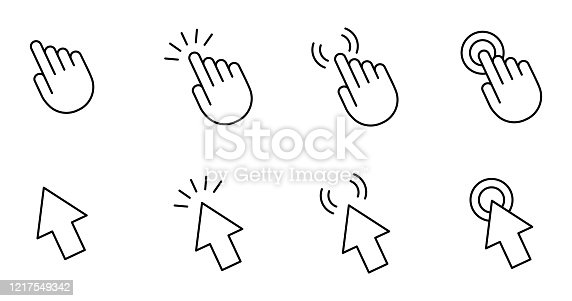 Computer mouse cursor pointer hand and arrow. Set of 8 vector images with editable stroke.