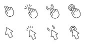 istock Computer mouse cursor pointer hand and arrow. Set of 8 vector images with editable stroke 1217549342