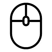 Computer mouse icon in line style. PC peripheral symbol. Click sign.