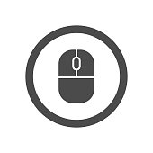 Isolated vector icon of a computer mouse inside a circle.
