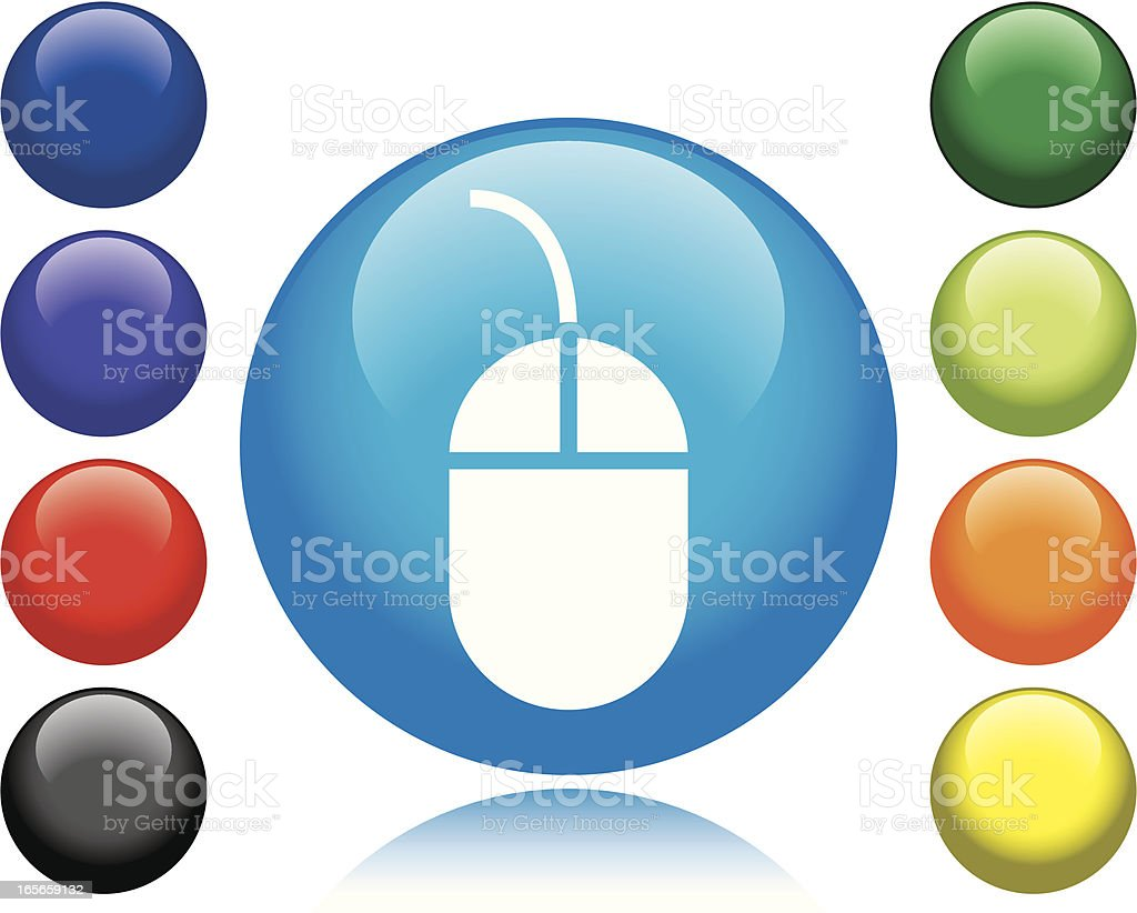 A computer mouse icon surrounded by colorful circles vector art illustration
