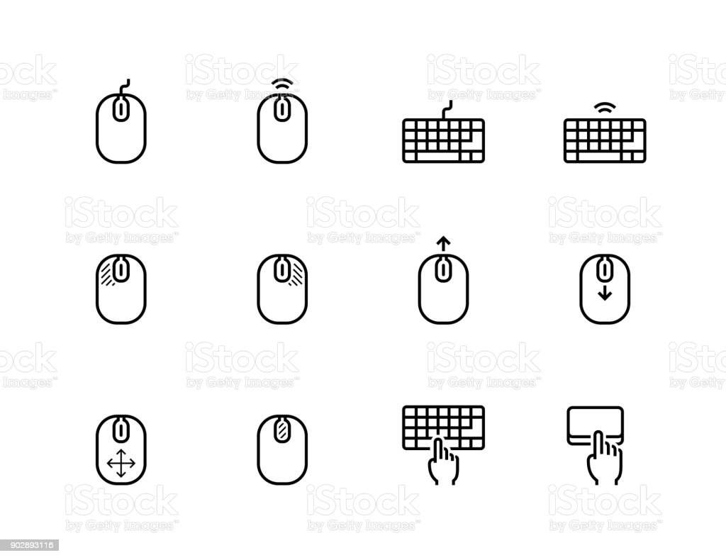Computer mouse, its buttons indication and keyboard vector icon set in thin line style