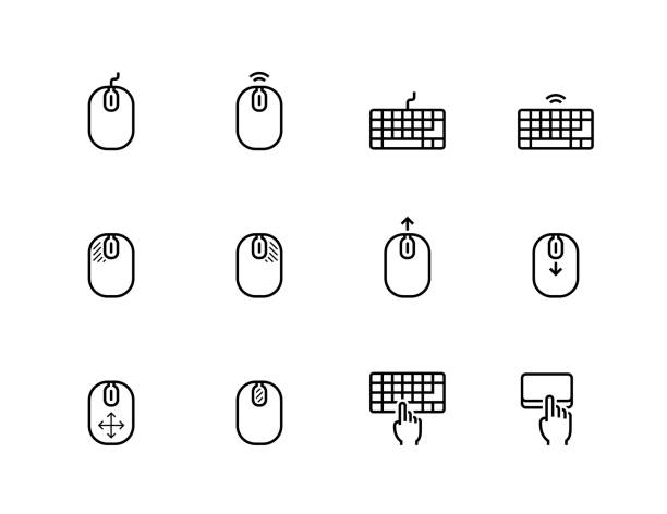 computer mouse, its buttons indication and keyboard vector icon set in thin line style - computer keyboard stock illustrations, clip art, cartoons, & icons