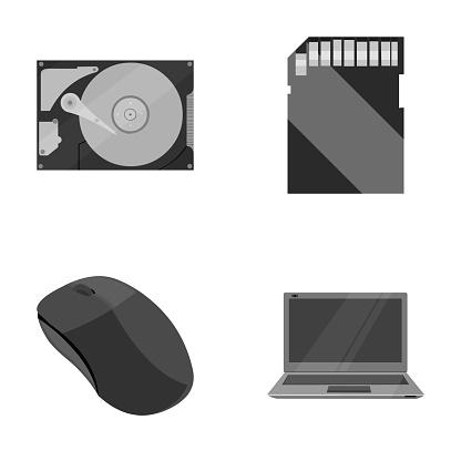 Datormus Bärbar Dator Och Annan Utrustning Persondator Som Samling Ikoner I Svartvit Stil Vektor Symbol Stock Illustration Web-vektorgrafik och fler bilder på Dator