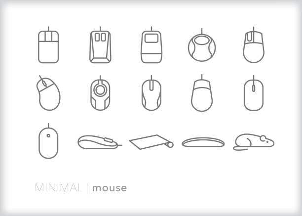 computer-maus-linien-symbol-set - mauspad stock-grafiken, -clipart, -cartoons und -symbole