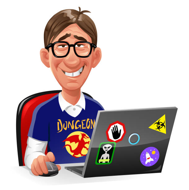 computer-nerd sitzt am laptop - nerd stock-grafiken, -clipart, -cartoons und -symbole