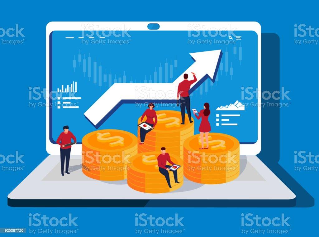Computer Network and Financial Profits vector art illustration