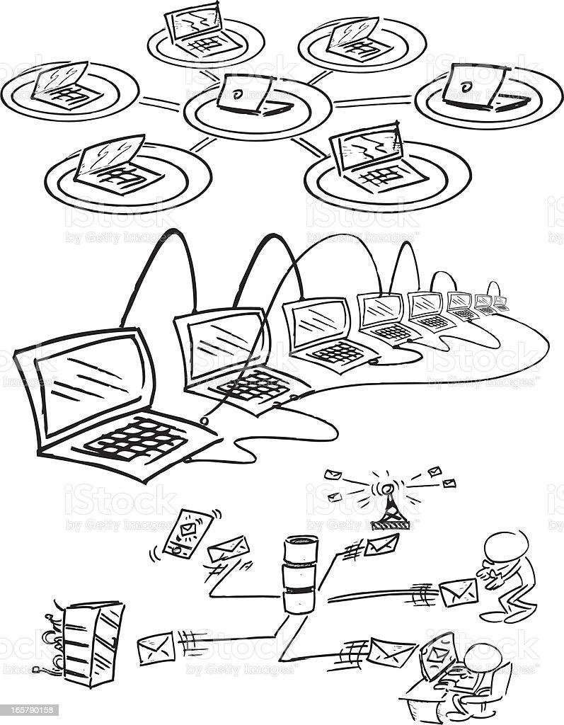 Computer Network Figures royalty-free stock vector art