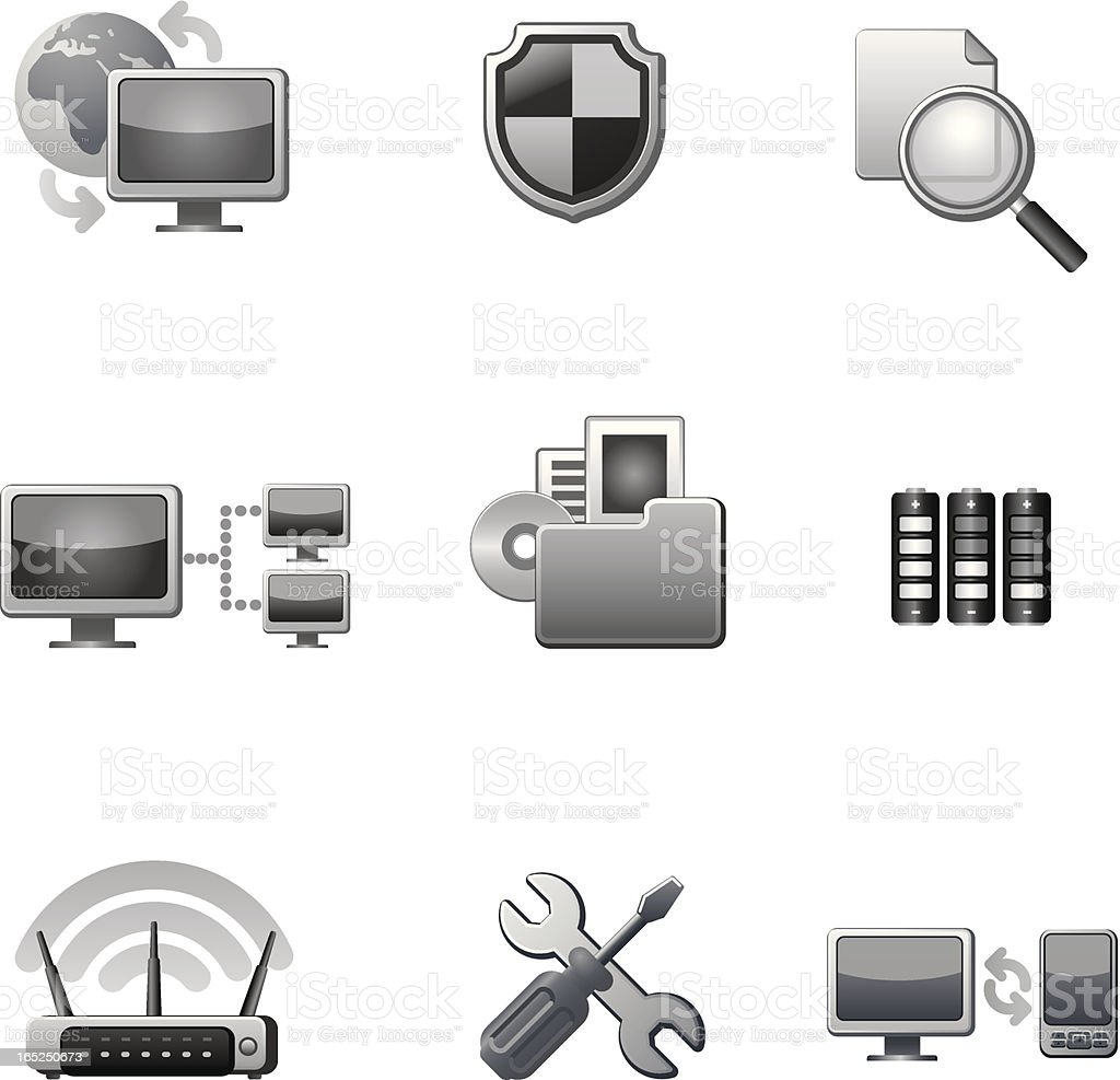 computer network icon set royalty-free computer network icon set stock vector art & more images of arrow symbol