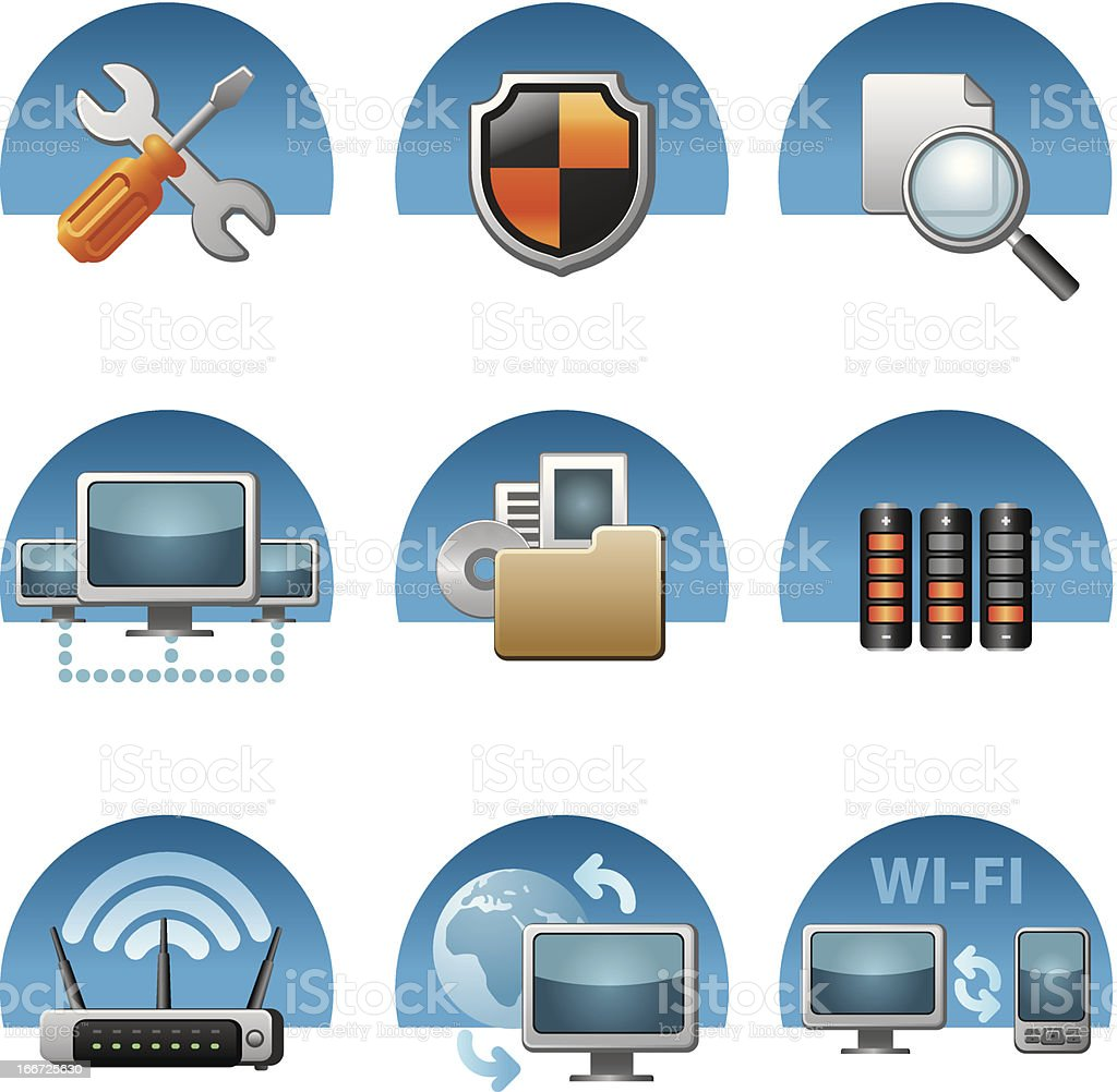 computer network icon set royalty-free stock vector art