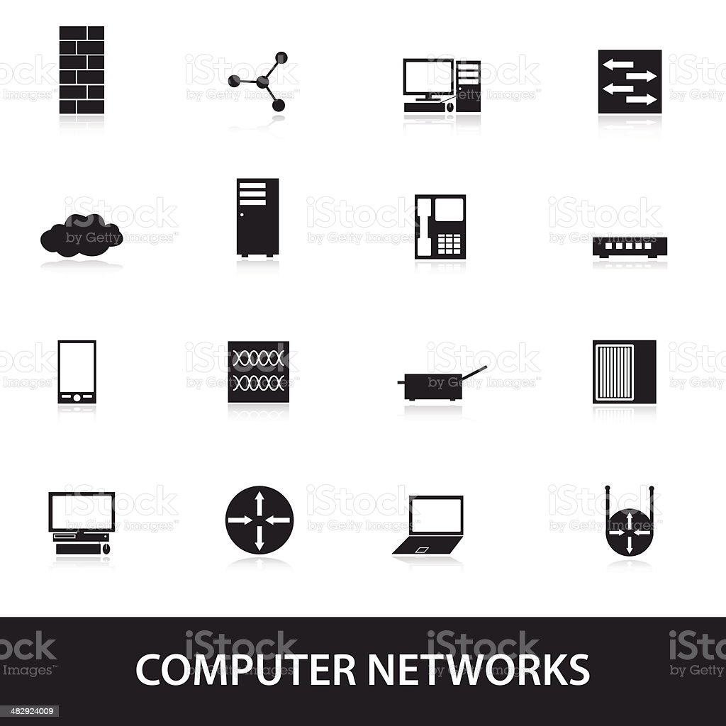 computer network icons eps10 vector art illustration