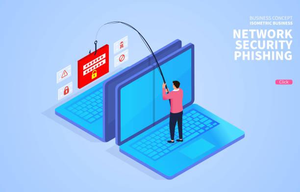 illustrazioni stock, clip art, cartoni animati e icone di tendenza di computer network security and phishing traps - phishing