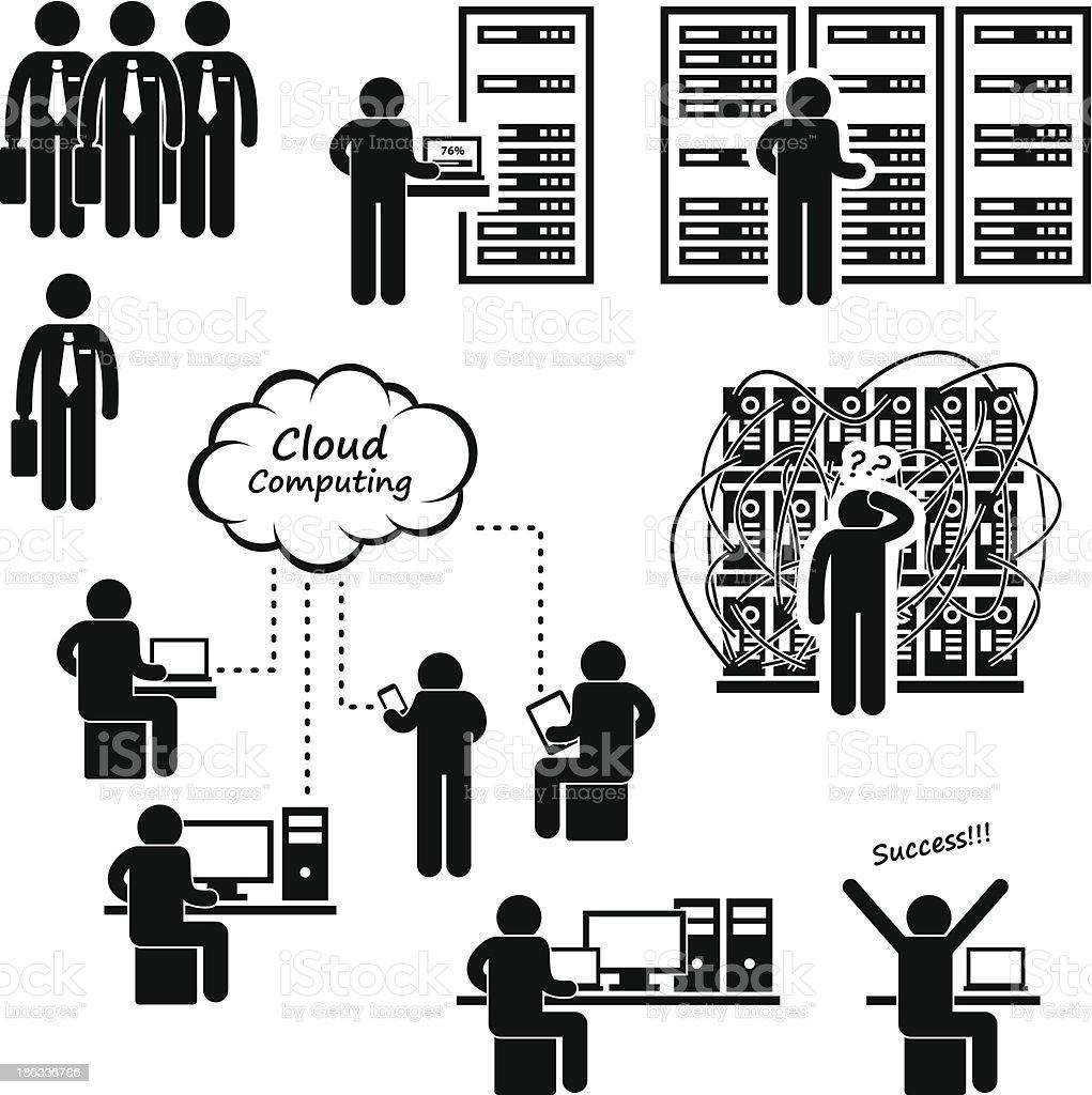 Computer Network Server Data Center Pictogram vector art illustration