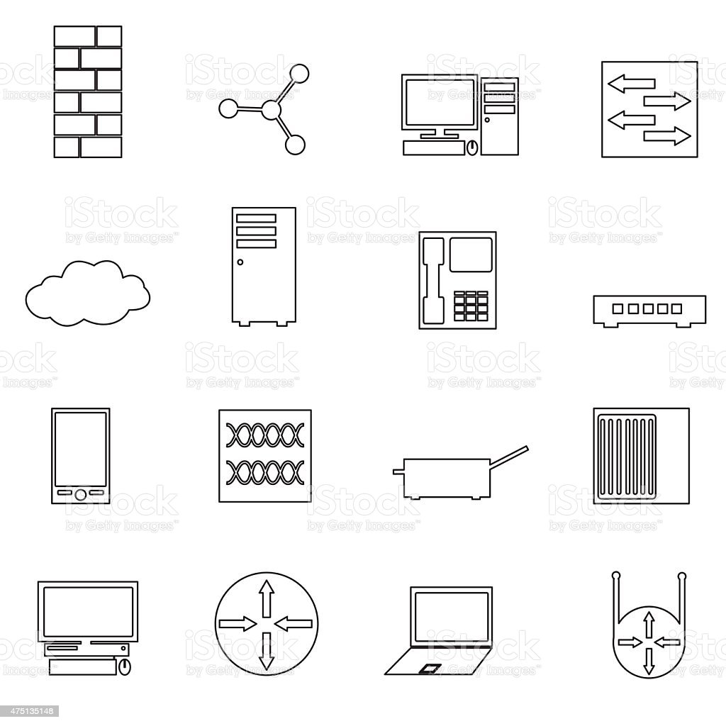 computer network simple outline icons set eps10 stock