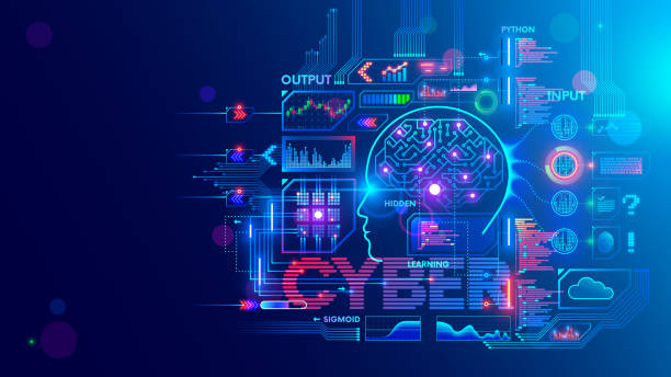 Computer neural network or AI on programming language python. Abstract interface elements of artificial intelligence. Deep machine learning. Big data processing technology. Conceptual illustration. vector art illustration