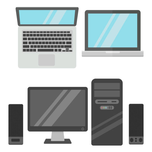 Computer office equipment vector Group computer office equipment. Digital business telecommunication workplace. Mobile internet information device. Multimedia technology tool vector illustration. tower stock illustrations
