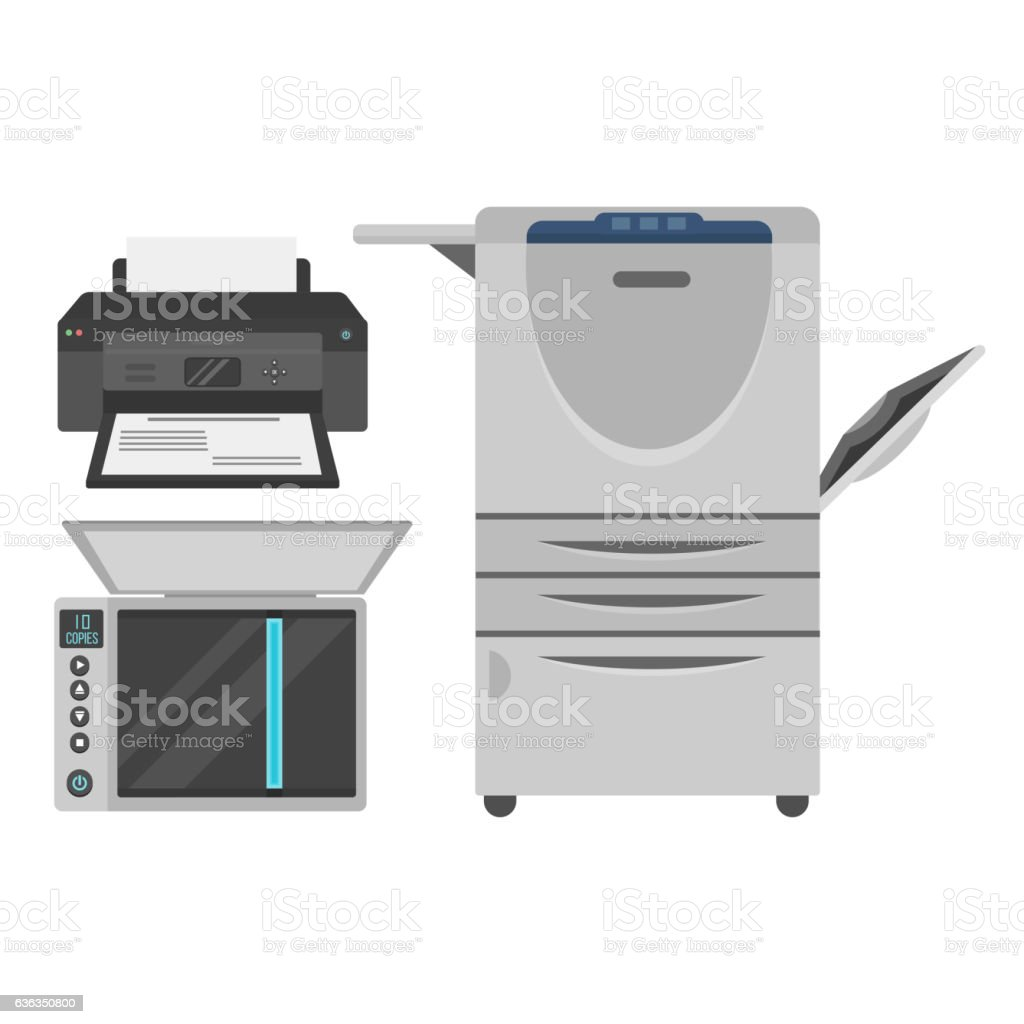 Computer office equipment vector vector art illustration