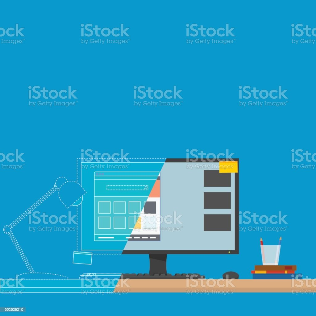 Computer on Desk vector art illustration