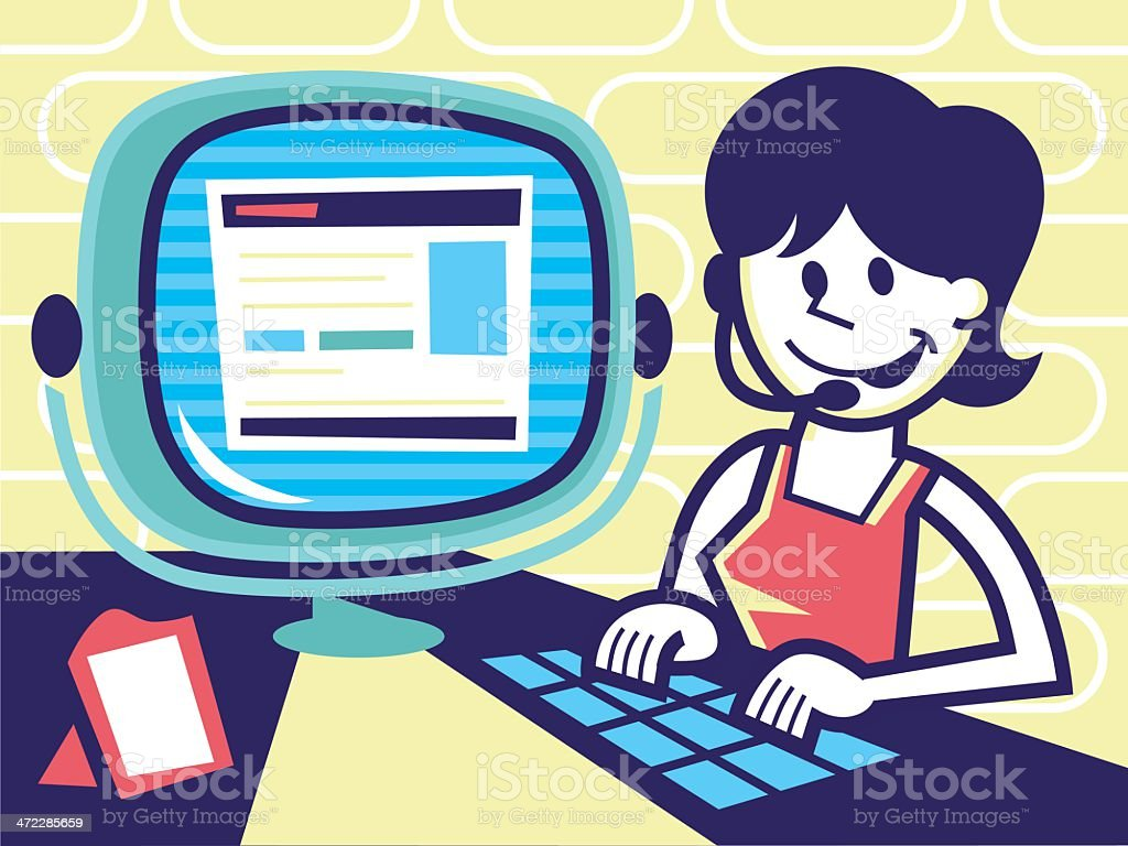 computer operator vector art illustration