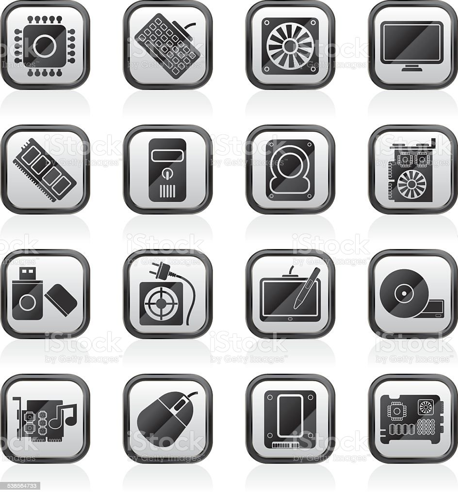 Computer part icons vector art illustration