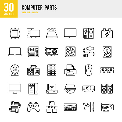 Set of 30 Computer Parts line vector icons. Processor, mother board, server, printer, hard drive, RAM and so on