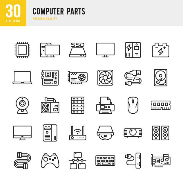 części komputera - zestaw ikon wektora liniowego - przewód składnik elektryczny stock illustrations