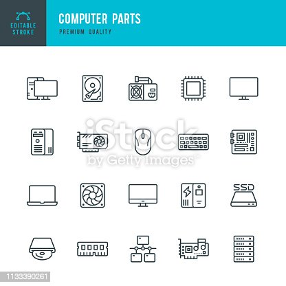 Set of 20 Computer Parts thin line vector icons. CPU, RAM, GPU, Monitor, Mother Board, SSD, Hard Drive and so on