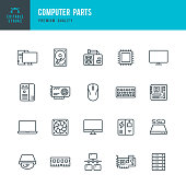 Computer Parts - set of thin line vector icons
