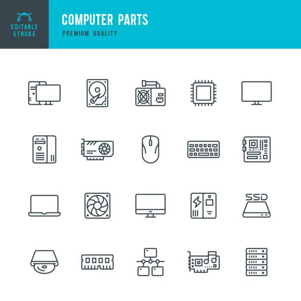 stockillustraties, clipart, cartoons en iconen met computer onderdelen-set van dunne lijn vector iconen - netwerkserver