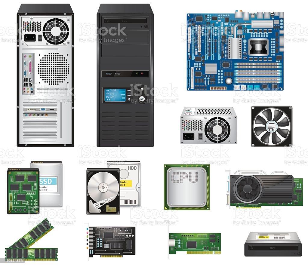 Computer Parts Set royalty-free computer parts set stock illustration - download image now