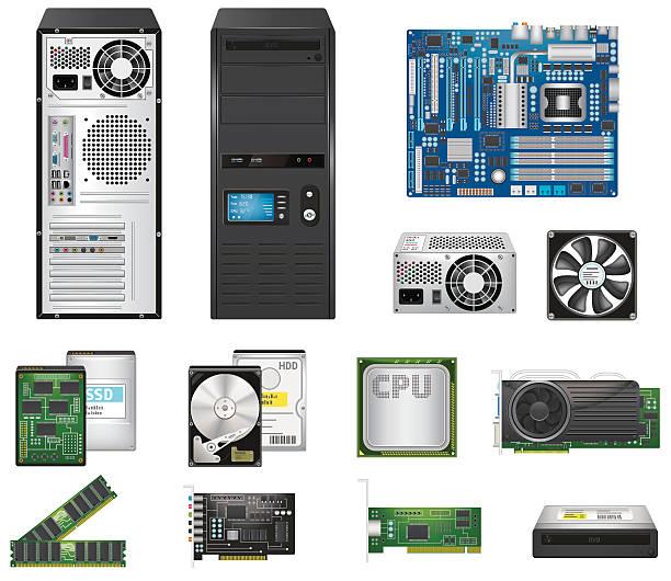 computer parts set - cpu stock illustrations
